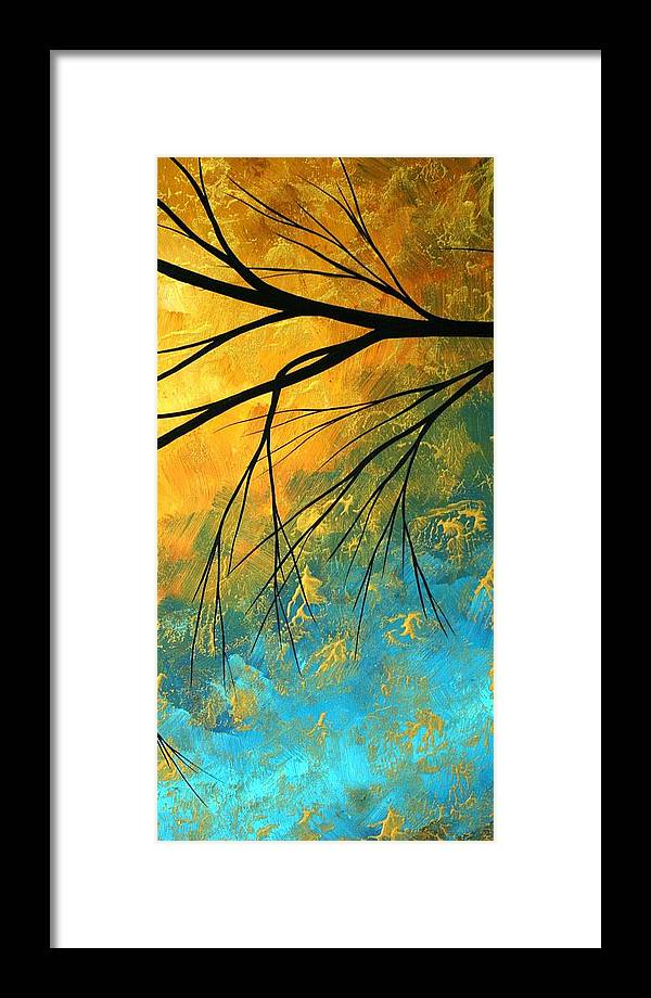 Abstract Framed Print featuring the painting Abstract Landscape Art Passing Beauty 2 Of 5 by Megan Duncanson
