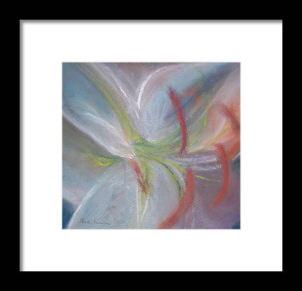 Flower Framed Print featuring the pastel Abstract Lily by Jackie Bush-Turner