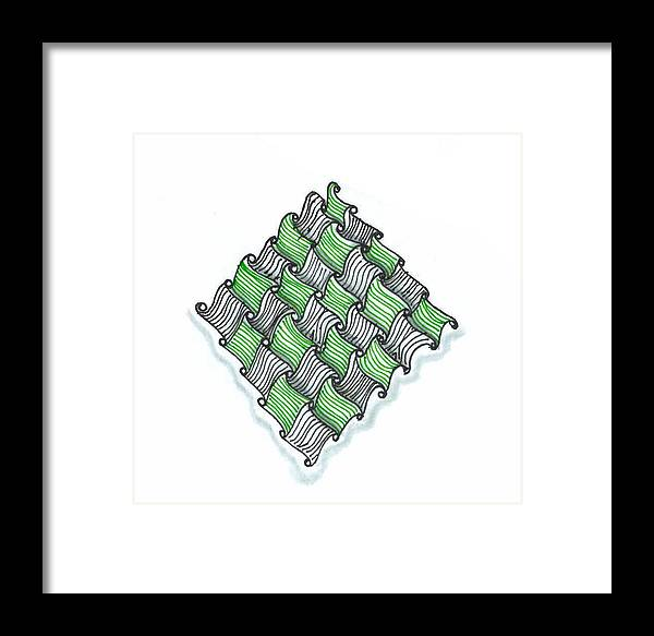 Abstract Framed Print featuring the drawing Abstract Line Design In Black And Green by Eric Strickland