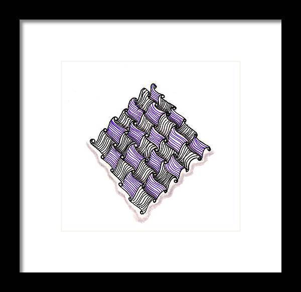 Abstract Framed Print featuring the drawing Abstract Line Design In Black And Purple by Eric Strickland