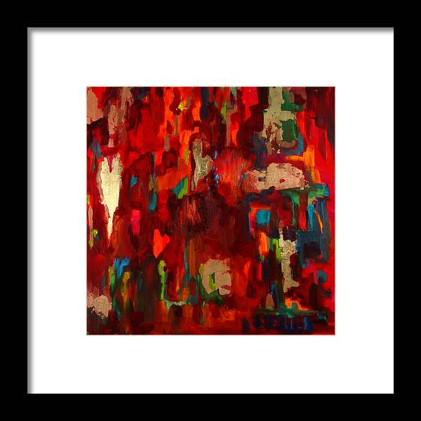 Red Framed Print featuring the painting Abstract Love by Billie Colson