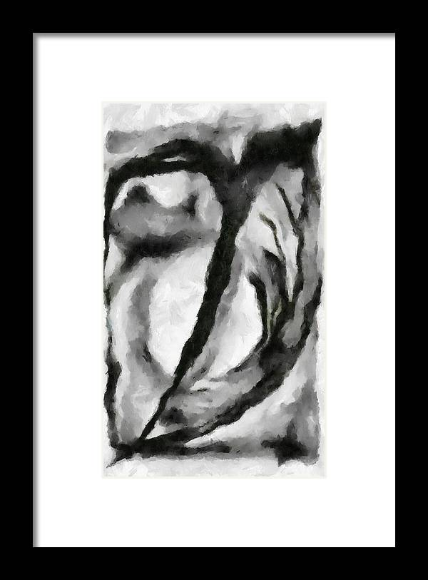 Abstract Framed Print featuring the painting Abstract Monochome 154 by D A Diggs