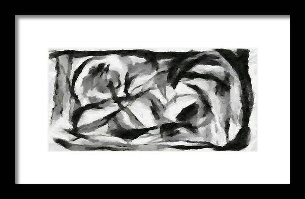 Abstract Framed Print featuring the painting Abstract Monochome 156 by D A Diggs