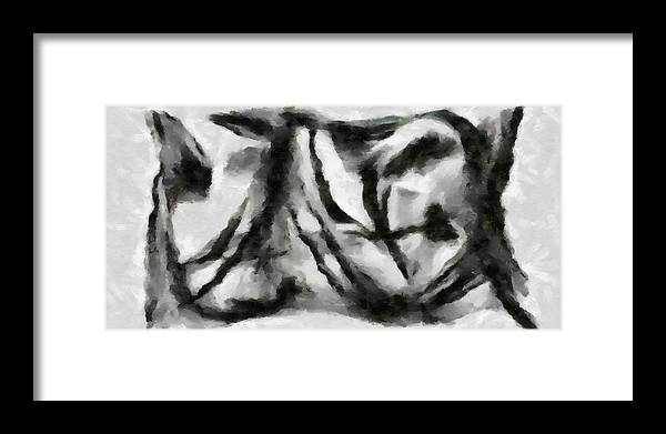 Framed Print featuring the painting Abstract Monochome 158 by D A Diggs