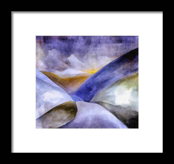 Blue Framed Print featuring the painting Abstract Mountain Landscape by Michelle Calkins