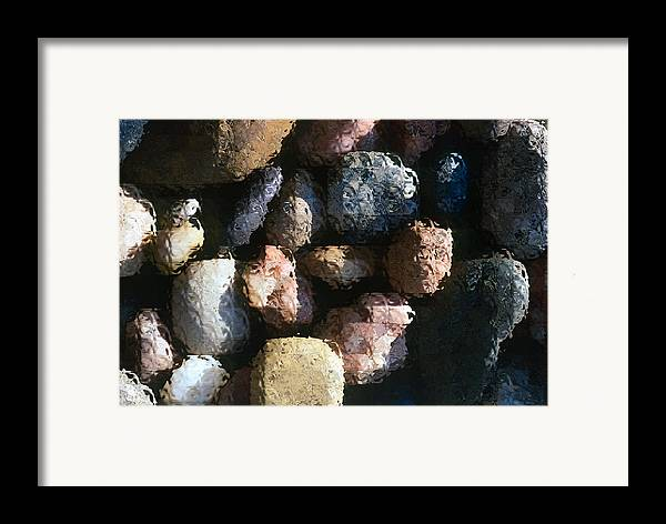 Rocks Framed Print featuring the photograph Abstract Of River Rocks 2 by Steve Ohlsen