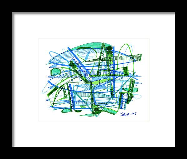 Abstract Framed Print featuring the drawing Abstract Pen Drawing Twenty-eight by Lynne Taetzsch