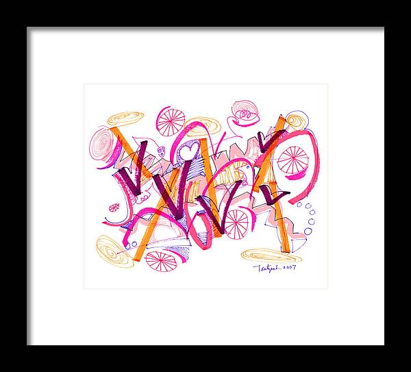 Abstract Framed Print featuring the drawing Abstract Pen Drawing Twenty-six by Lynne Taetzsch