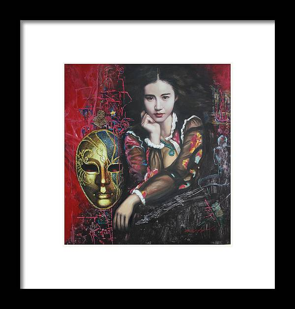 Portraits Framed Print featuring the painting Abstract Portraits by U Sein Linn