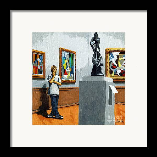 Young Boy Framed Print featuring the painting Abstract Position by Linda Apple