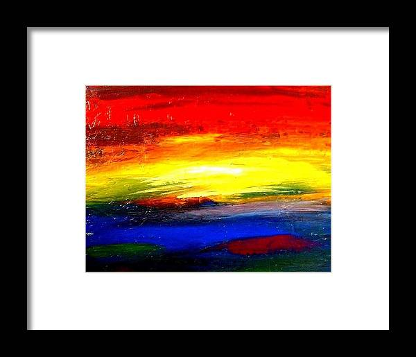 Rainbow Framed Print featuring the painting Abstract Rainbow And Sunset by Teo Alfonso