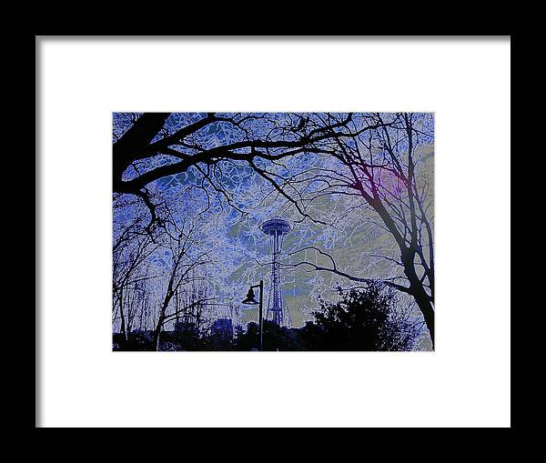 Space Needle Framed Print featuring the photograph Abstract Space Needle by Maro Kentros
