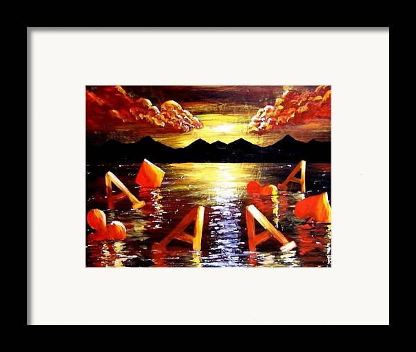 Poker Framed Print featuring the painting Abstract Sunset Landscape Seascape Floating Aces Suits Poker Art Decor by Teo Alfonso