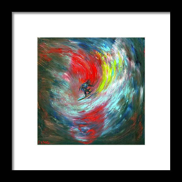 Surfer Framed Print featuring the painting Abstract Surfer by Paul Emig