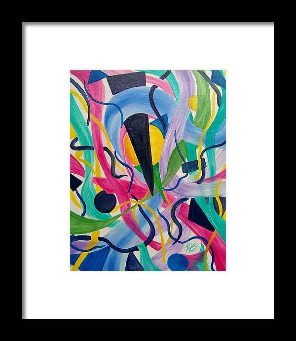 Abstract Framed Print featuring the painting Abstract Universe by Kathern Welsh