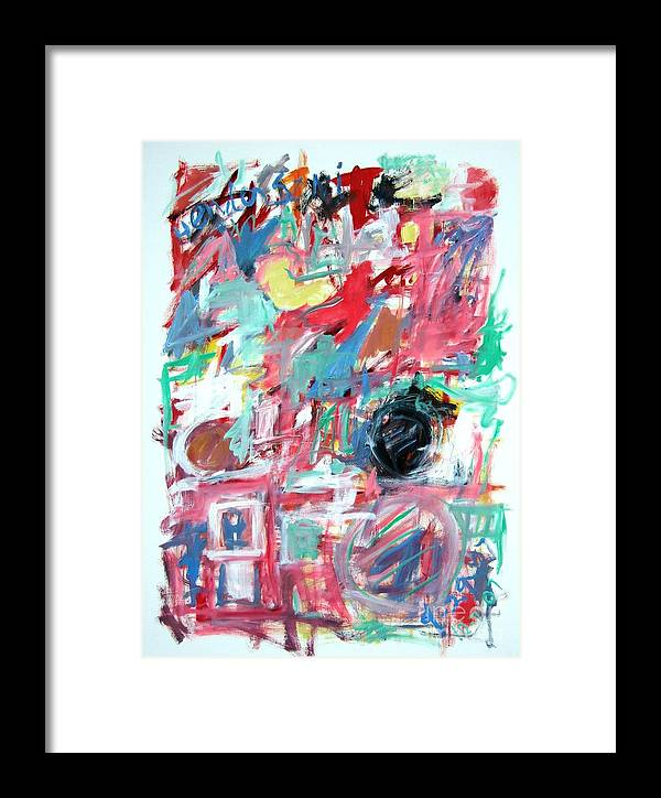 Abstract Framed Print featuring the painting Abstract With Blue Date by Michael Henderson
