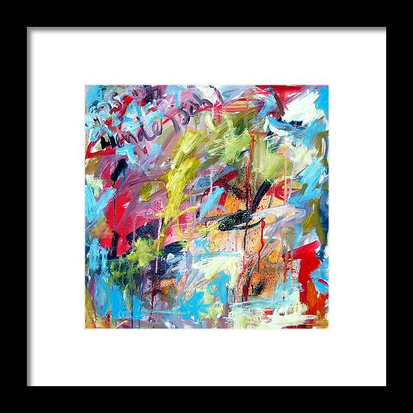 Abstract Framed Print featuring the painting Abstract With Drips And Splashes by Michael Henderson