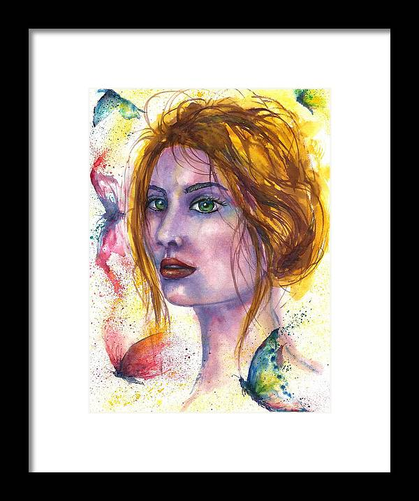Women Face Framed Print featuring the painting Abstract women face by Natalja Picugina