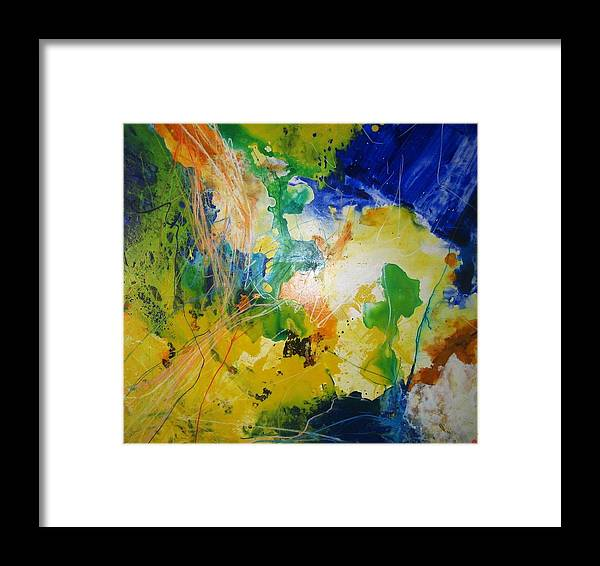 Abstract Framed Print featuring the painting Abstraktes Bild 18 by Eckhard Besuden