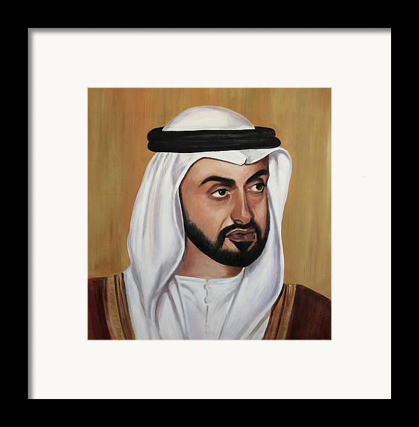 Abu Dhabi Framed Print featuring the painting Abu Dhabi Crown Prince by Fiona Jack