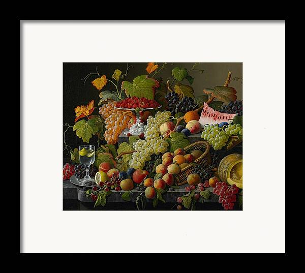 Still-life Framed Print featuring the painting Abundant Fruit by Severin Roesen