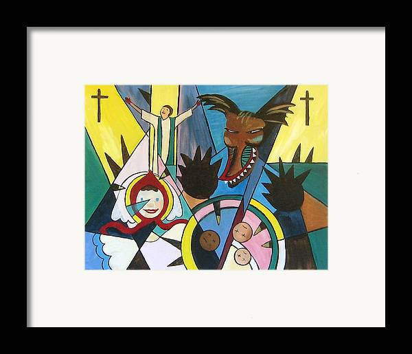 Cubism Framed Print featuring the painting Abuse by Art Nomad Sandra Hansen