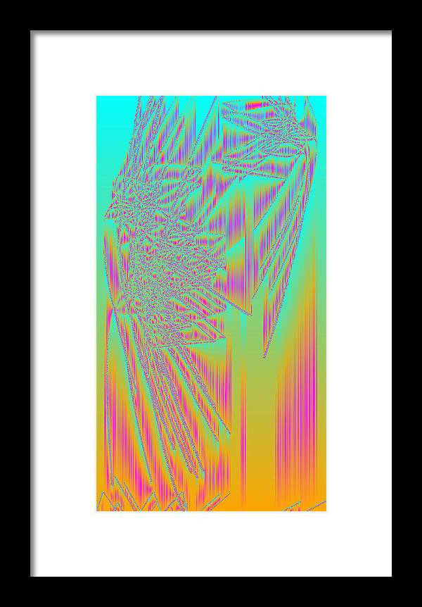 Rithmart Abstract Lines Organic Random Computer Digital Shapes Acanvas Art Bacground Colors Designed Digital Display Images One Random Series Shapes Smooth Spiky Streaming Three Using Framed Print featuring the digital art Ac-5-21 by Gareth Lewis