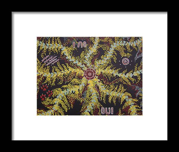 Acacia Blossoms Framed Print featuring the painting Acacia Blossoms In Oz by Laura Johnson
