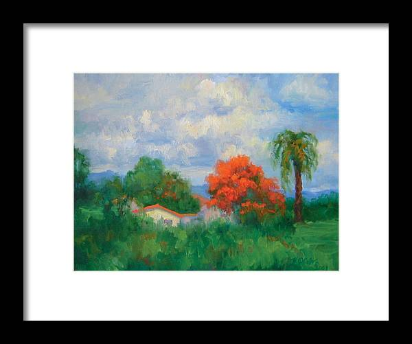Honduras Framed Print featuring the painting Acacias And Red Roofs by Bunny Oliver
