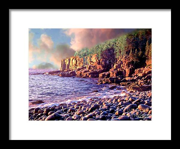 Robert Framed Print featuring the painting Acadia National Park by Bob and Nadine Johnston