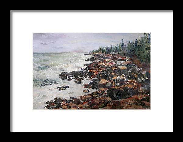 Acadia National Park Framed Print featuring the pastel Acadian Afternoon by Alicia Drakiotes