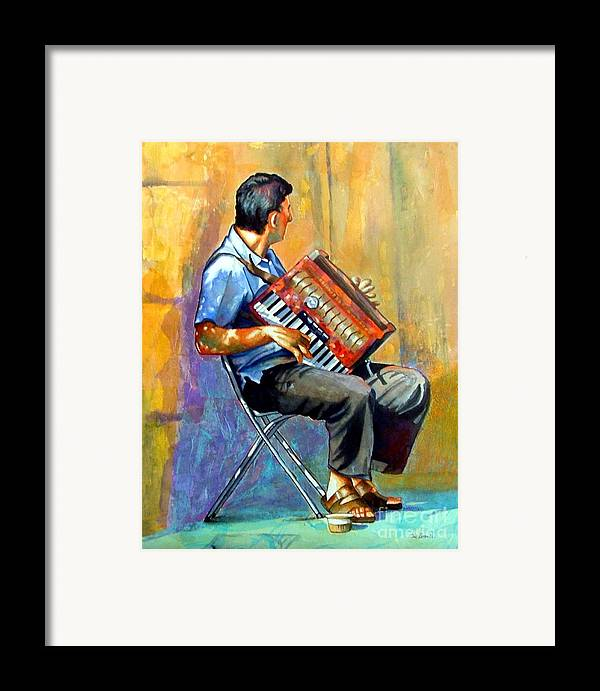 Portrait Framed Print featuring the painting Accordian Player by Gail Zavala