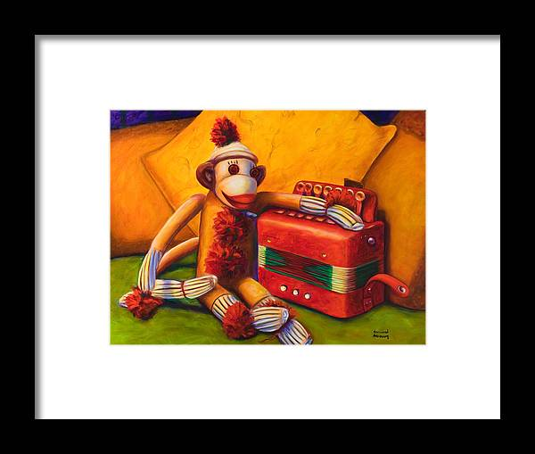 Children Framed Print featuring the painting Accordion by Shannon Grissom