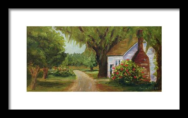 This Is A Little Out Building Off Of Grove Plantation Home At Ace Basin Close To Charleston Framed Print featuring the painting Ace Basin Cottage by Rosie Phillips