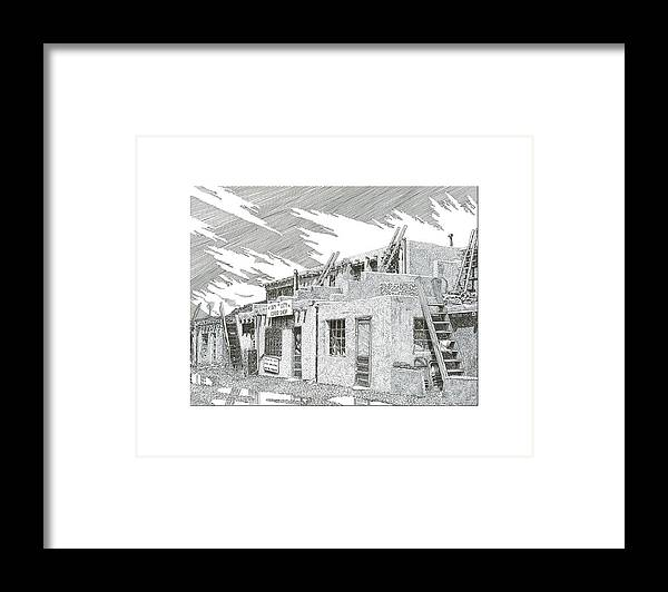 Images Of Acoma Sky City Acoma Framed Print featuring the drawing Acoma Sky City by Jack Pumphrey