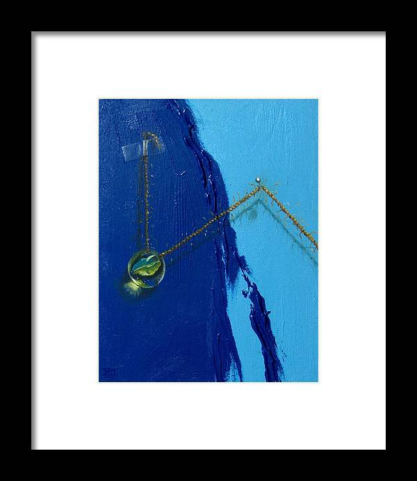 Marble Hanging By Rope Held By Tape And Needle Framed Print featuring the painting Acrobatics Number Two by Roger Calle