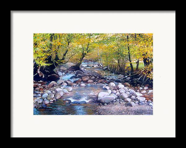 Landscape Framed Print featuring the pastel across Bulgaria 3 by Stoian Pavlov