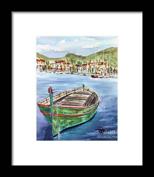 Boats Framed Print featuring the painting Across The Bay by Tim Ross