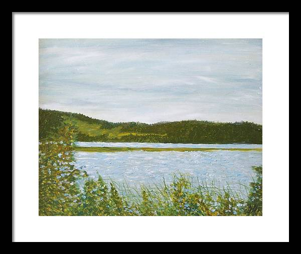 Lake Framed Print featuring the painting Across The Belleisle by Norman F Jackson