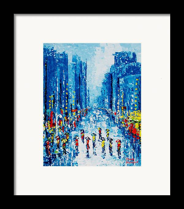 Abstract Framed Print featuring the painting Across Town by Claude Marshall