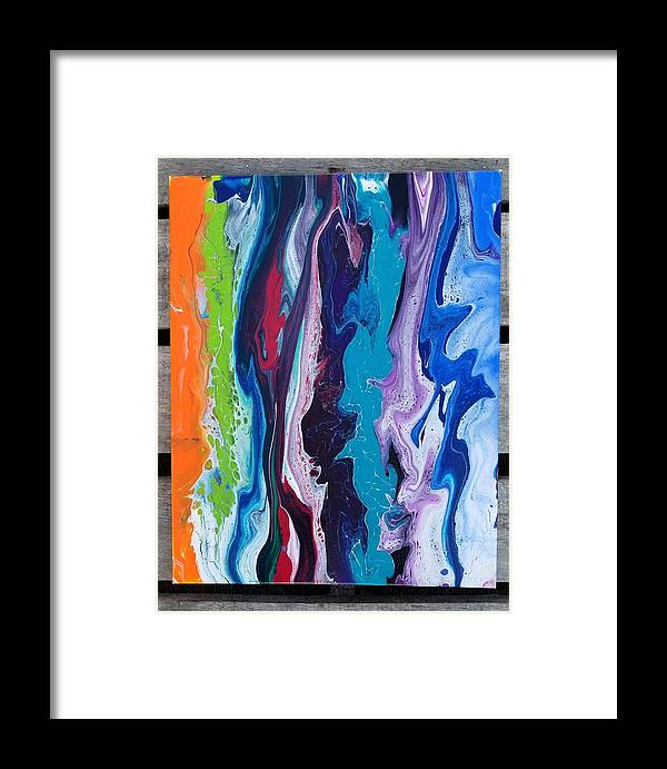 Handmade Framed Print featuring the painting Acrylic Pouring by Melanie Gomez