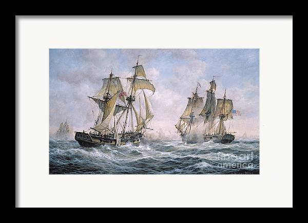 Seascape; Ships; Sail; Sailing; Ship; War; Battle; Battling; United States; Wasp; Brig Of War; Frolic; Sea; Water; Cloud; Clouds; Flag; Flags; Sloop; Action; Wave; Waves Framed Print featuring the painting Action Between U.s. Sloop-of-war 'wasp' And H.m. Brig-of-war 'frolic' by Richard Willis
