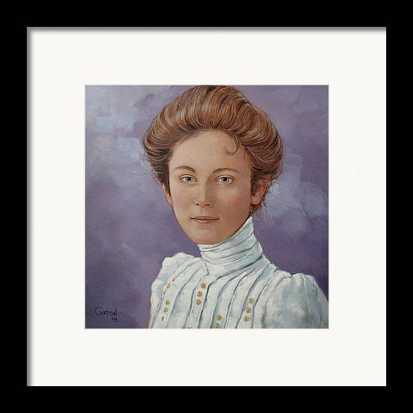 Posthumous Portrait Framed Print featuring the painting Ada Douglas by Jerrold Carton