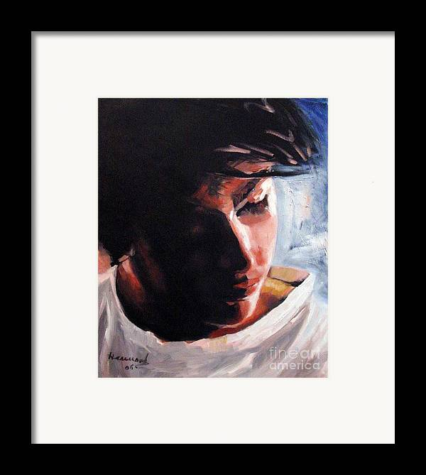 Portrait Framed Print featuring the painting Adam by Ali Hammoud