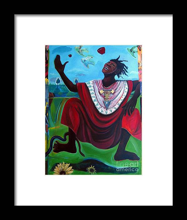 Adam Framed Print featuring the painting Adam Who Is Your Daddy by Joyce Owens