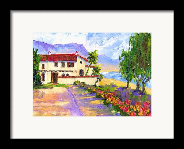 Spanish Framed Print featuring the painting Adamson Home Malibu by Randy Sprout