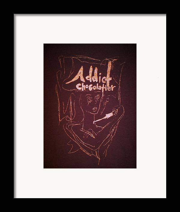 Dark Chocolate Framed Print featuring the drawing Addict Chocolatier by Ayka Yasis