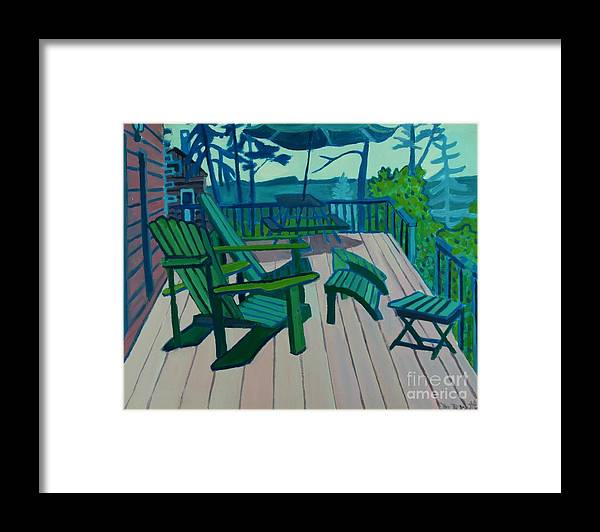 Ocean Framed Print featuring the painting Adirondack Chairs Maine by Debra Bretton Robinson