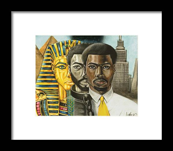 Self-portrait Framed Print featuring the drawing Adjacent To The King by Lamark Crosby
