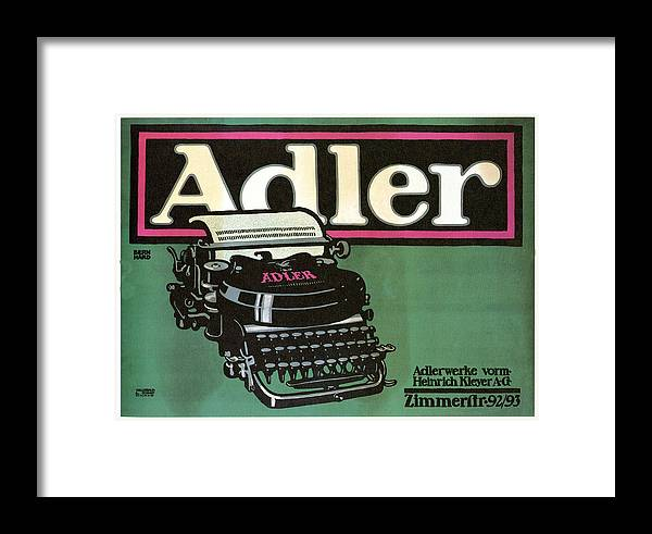 Adler Framed Print featuring the mixed media Adler Typewriter - Vintage Typewriter - Retro Advertising Poster by Studio Grafiikka